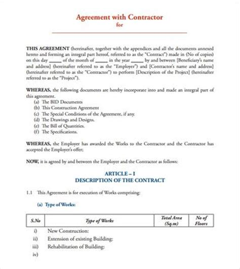 9 Sle Contract Agreements Sle Templates Simple Contract Template Pdf