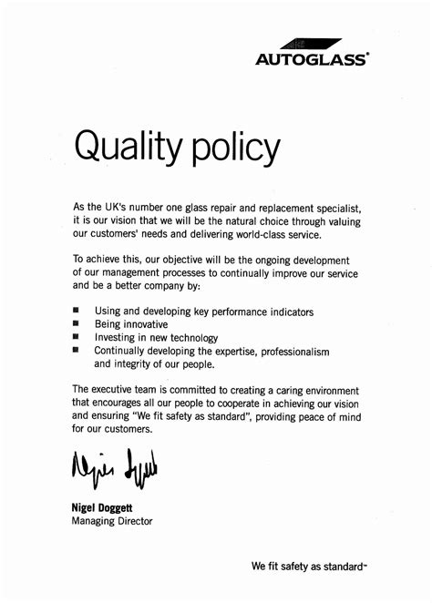 template of quality policy autoglass 174 specials certification and policies