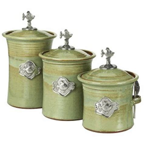green kitchen canister set fish 3 piece canister set in 4 colors
