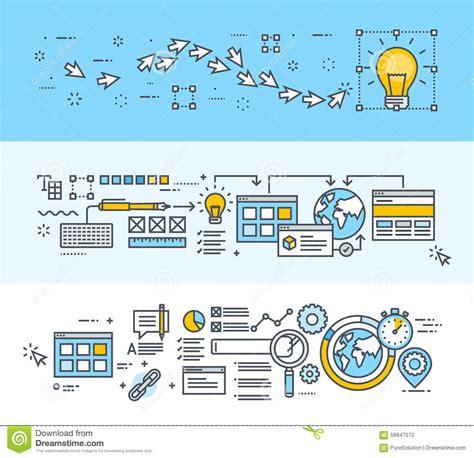 design concept development process thin line flat design concept banners for creative process