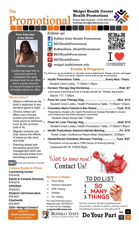 Promotion Newsletter The Promotional Newsletter Weigel Health Center Suny Buffalo State