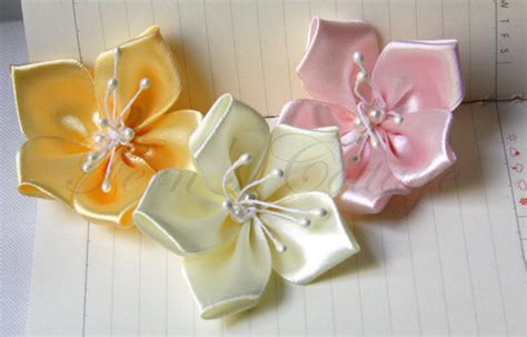 Handmade Ribbon Flowers - satin ribbon flowers 5 pcs 100 handmade on luulla