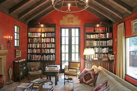 colonial style homes interior design dreams libraries living rooms bookshelf wall red wall