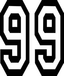 Black And White Wall Stickers quot 99 team sports number 99 ninety nine competition