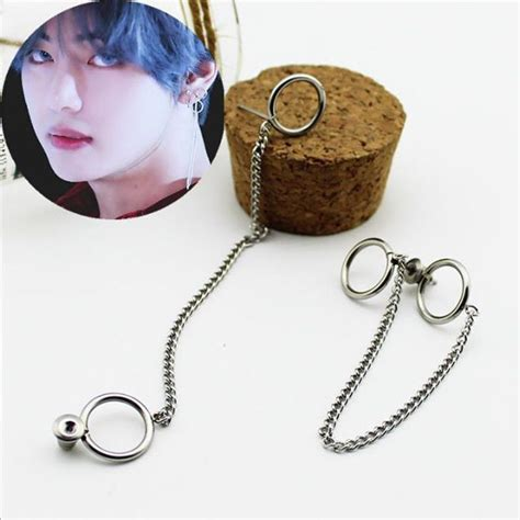 bts earrings kpop bts v earrings bangtan boys v doulbe ring chain