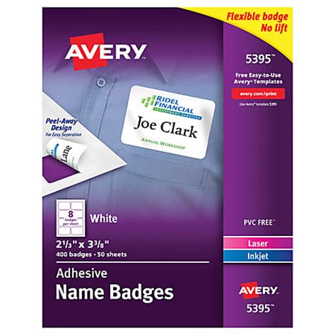 printable name tags office depot avery flexible name badge labels 2 13 x 3 38 white box of