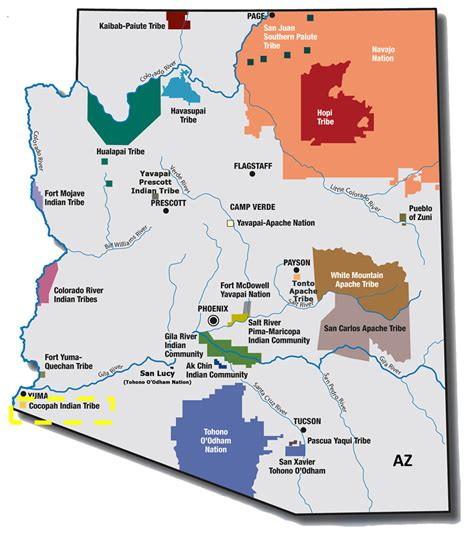 american reservations arizona map arizona map indian reservations