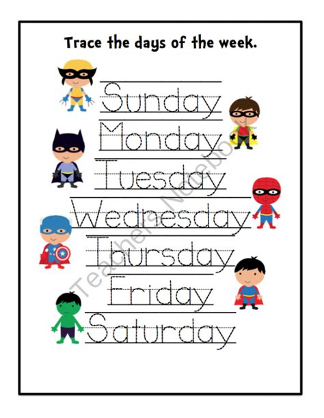 printable worksheets days of the week super hero s printable updated preschool printables