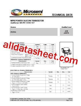 datasheet transistor 2n3055 2n3055 datasheet pdf microsemi corporation