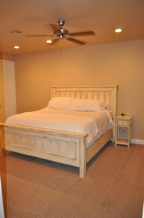 ana white king farmhouse bed  matching side tables