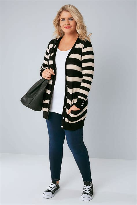 Free Address Finder Uk By Name Black White Stripe Belted Boyfriend Cardigan Plus Size 16 To 36