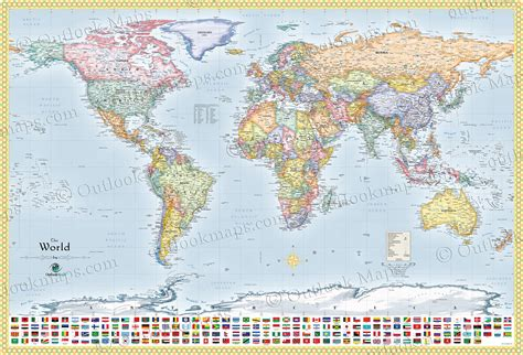 world map cities political world map with flags all countries lots of