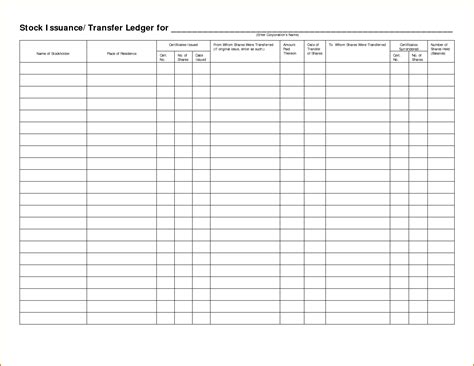 business ledger template stock ledger template business template