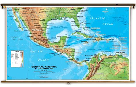 map of america and central america central america caribbean physical classroom map from