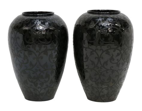 contemporary black  black scroll floor vases august estates auction day   estate