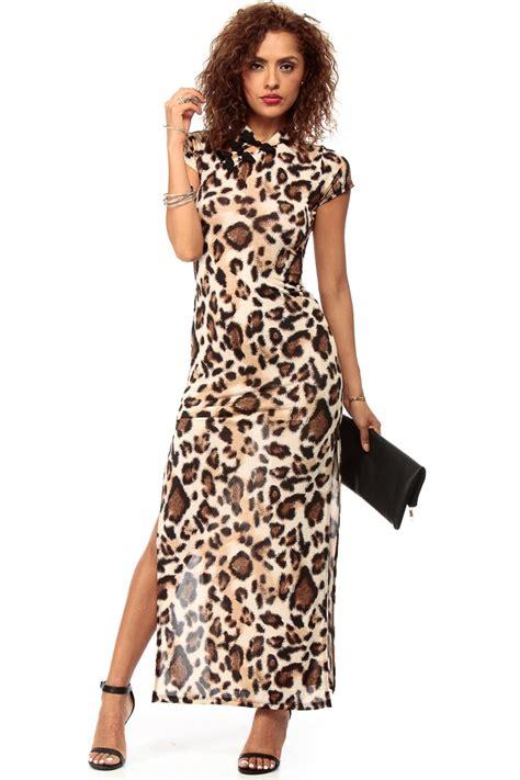 Print Cheongsam leopard print cheongsam maxi dress cicihot dresses