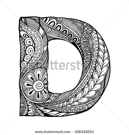 le lettere pi禮 d zentangle stylized alphabet letter d vector stock vector