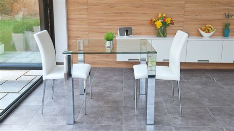 Small Glass Kitchen Table Sets Stylish Small Dining Set Chrome And Clear Glass Modern Chairs