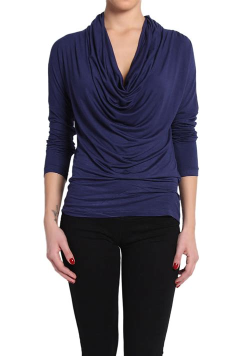 draped shirts themogan cowl neck long sleeve draped jersey top casual