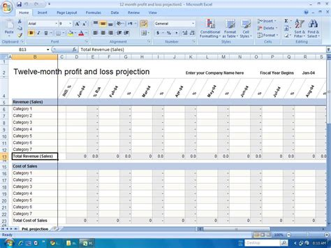 profit and loss templates financial templates 12 month profit and loss projection