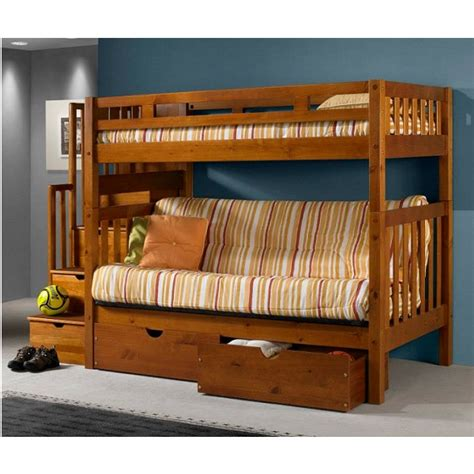 twin  full futon bunk bed  stairs  honey finish
