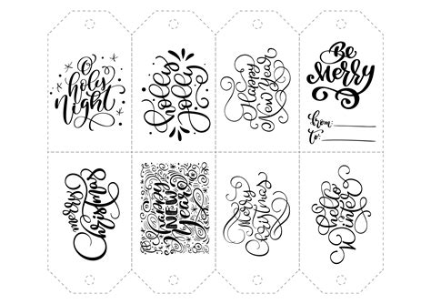 vector calligraphy set  phrases  tags isolated christmas hand drawn lettering illustration