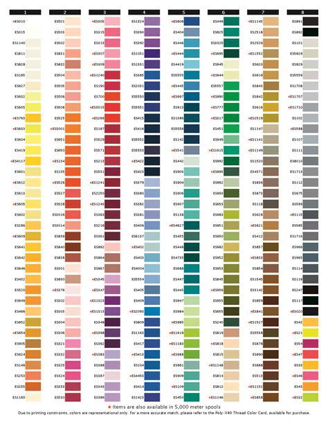 embroidex color chart exquisite thread mini king 1 000m color chart new