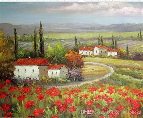 Ceramic Wall Tile Murals 2018 framed italian tuscany farm homes valley red poppy