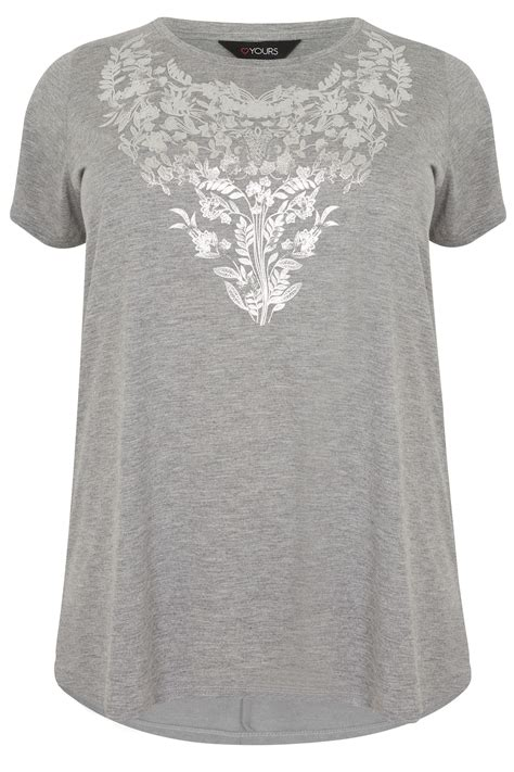 Letter Casual Top 40805 grey floral print t shirt with foil finish curved hem