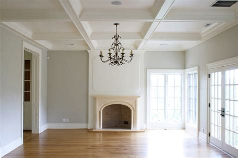 Grey Walls With Wood Floors by Coffered Ceiling Transitional Living Room Tiek Built