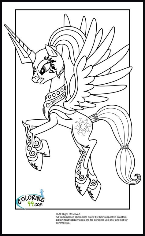 my little pony sign coloring pages princess celestia with armour colouring for the girls