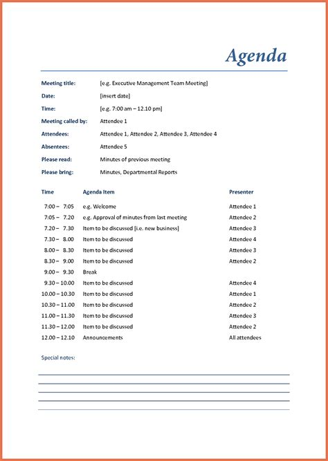 business meeting agenda template bio exle