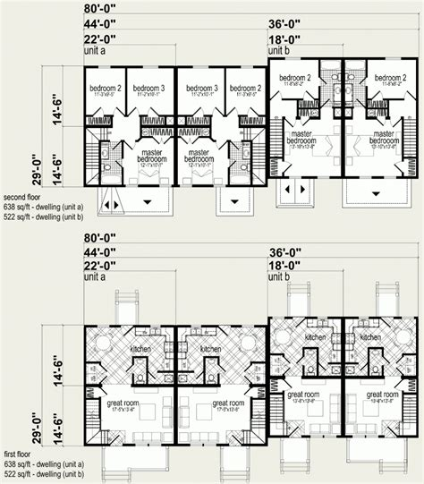 multi family plan 48066 at familyhomeplans com multi family unit floor plans