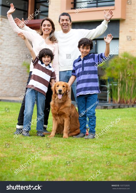 family dog house happy family dog outside theit house stock photo 103732835 shutterstock