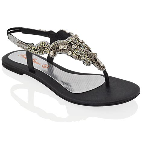 flat black sparkly shoes flat diamante toe post womens slingback sparkly