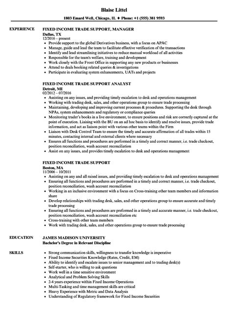 Fixed Income Trader Sle Resume by Fixed Income Trade Support Resume Sles Velvet