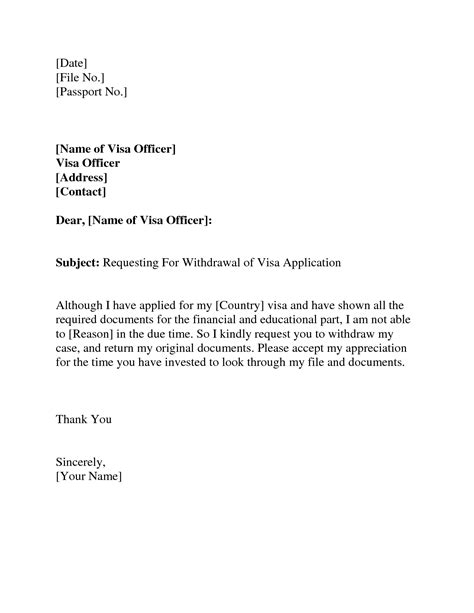format visa application letter visa withdrawal letter request letter format letter and