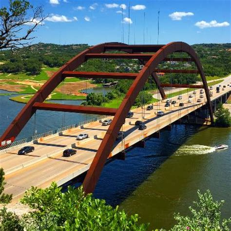 full bridge view on a sunny day. picture of pennybacker