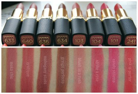 L Oreal Color Riche Matte safiyah tasneem sunday swatches l oreal matte addiction