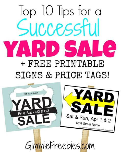 Free Printable Garage Sale Price Tags by Gimmie S Top 10 Yard Sales Tips Printable Garage Sale