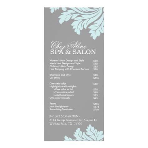 hair salon service menu template hairstyle gallery