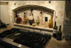 Simple kitchen backsplash with stone and metal tiles