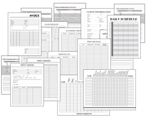 printable home organization forms print go organization sheets for photographers bp4u guides