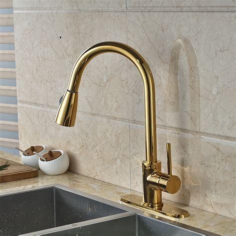 gold kitchen faucet columbine gold finish kitchen sink faucet with pull out sprayer funitic
