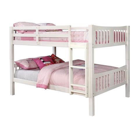 white full over full bunk beds furniture of america edith full over full bunk bed in