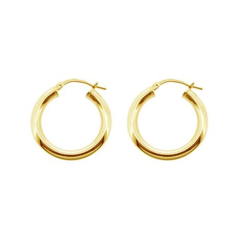 Ear Piercing Sleepers by 9ct Gold Plated Small To Large Polished 3mm Hoop Sleeper