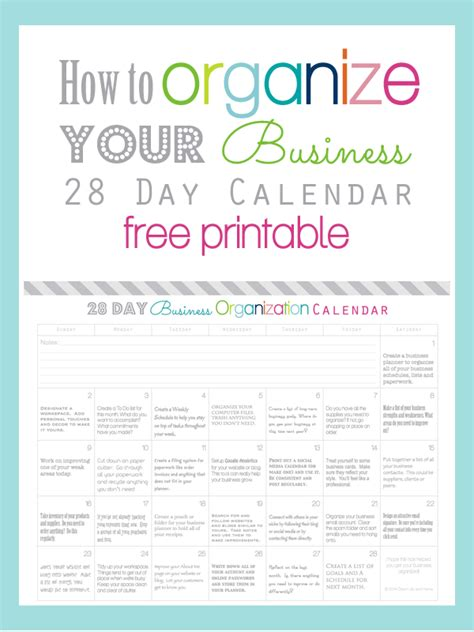 printable home business planner how to organize your business in 28 days calendar free