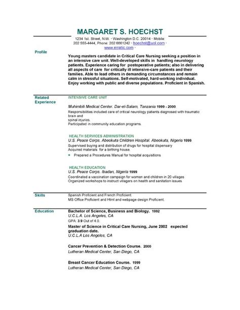Brief Cv Template by Resume Exles Exle Of Resume By Easyjob The Best