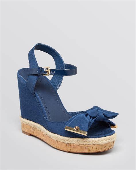 wedge sandals blue burch platform wedge sandals in blue newport