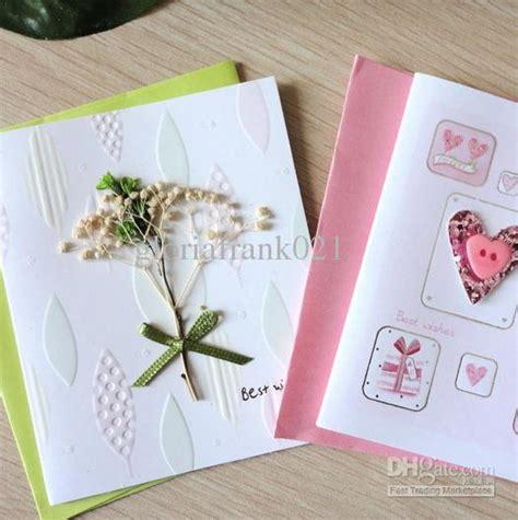 Handcraft Card - handcraft 3d greeting card with flowers and cloth